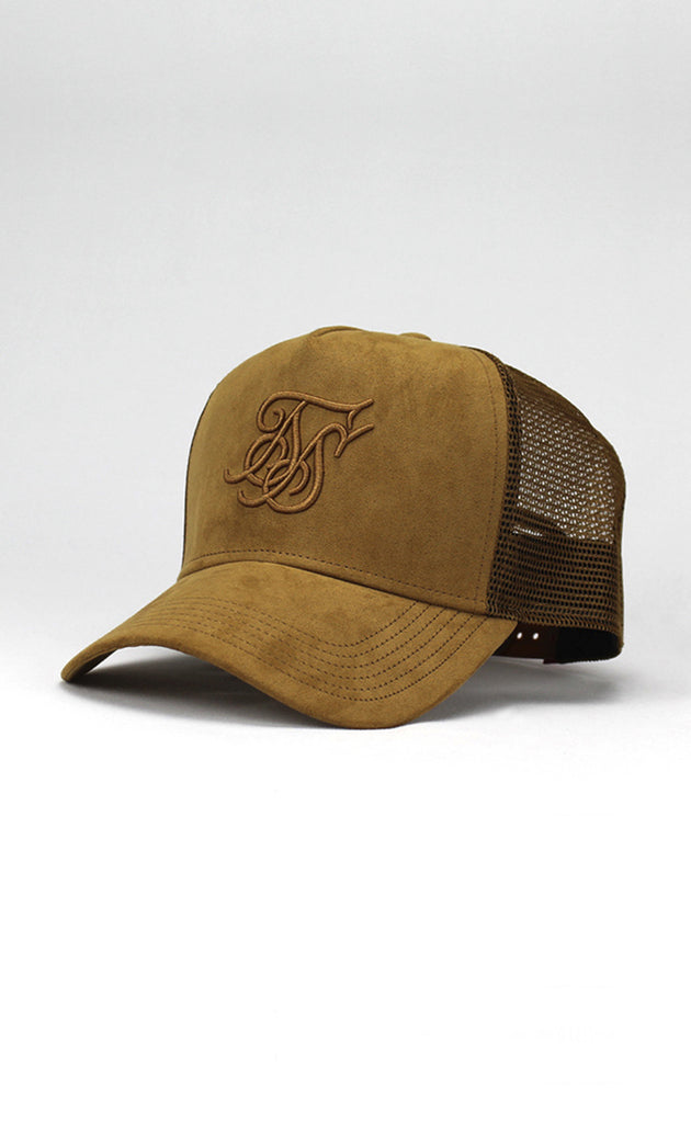 SUEDE BENT PEAK TRUCKER - SAND