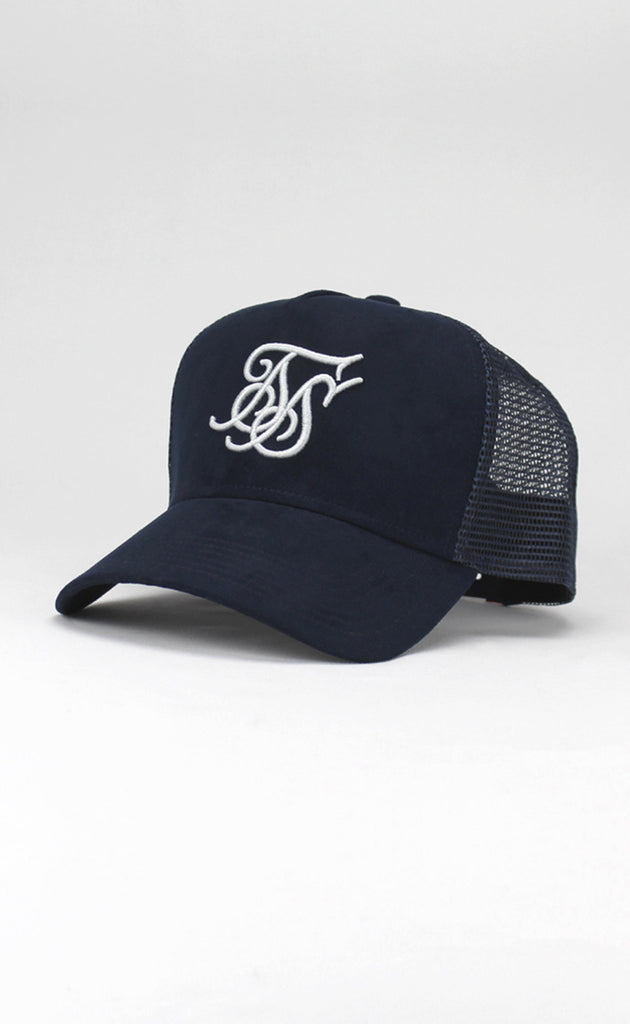 SUEDE BENT PEAK TRUCKER - NAVY