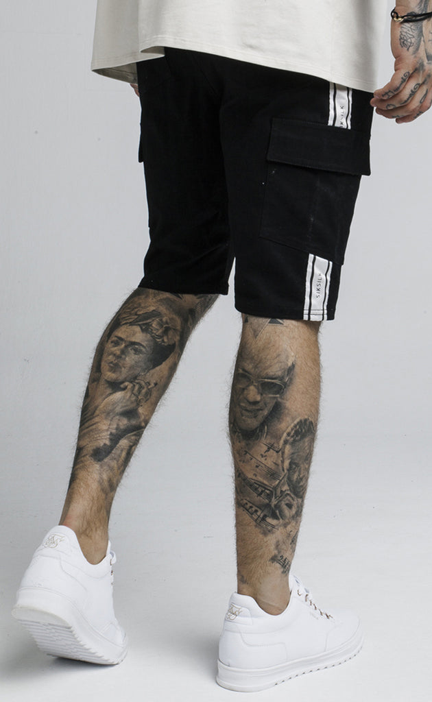 TAPED CARGO SHORTS - BLACK