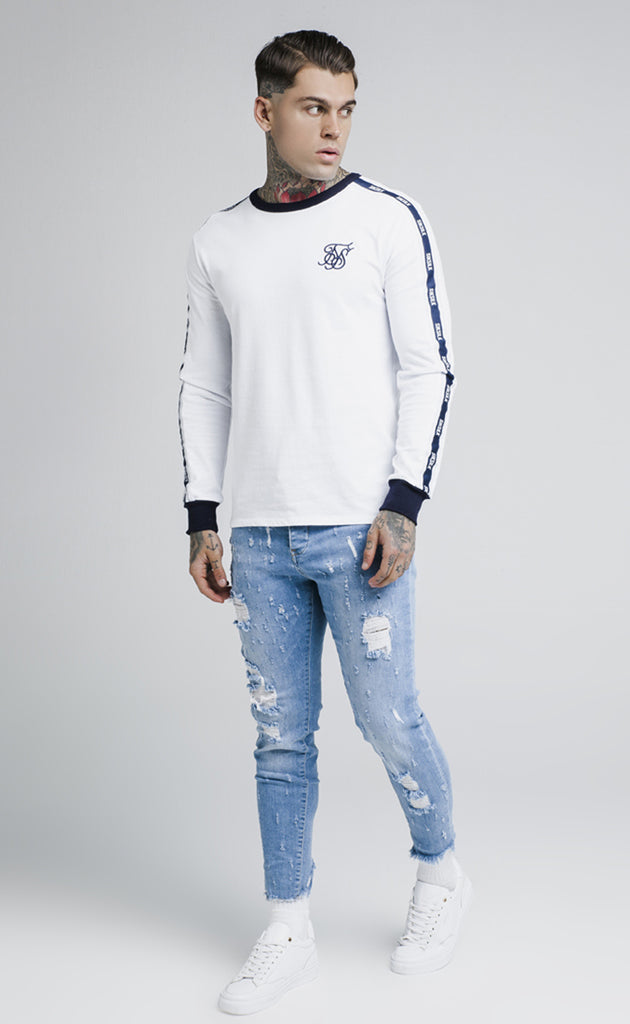 TAPED CONTRAST CUFF L/S TEE - WHITE