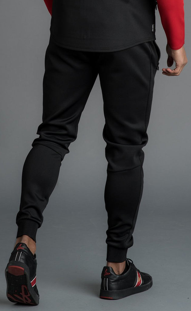 GK CAPO PANEL POLY JOG PANT - BLACK/RED