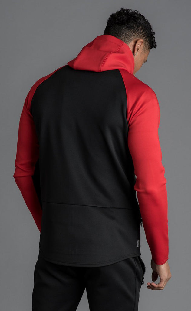 GK CAPO PANEL POLY TRACKSUIT TOP - RED/BLACK