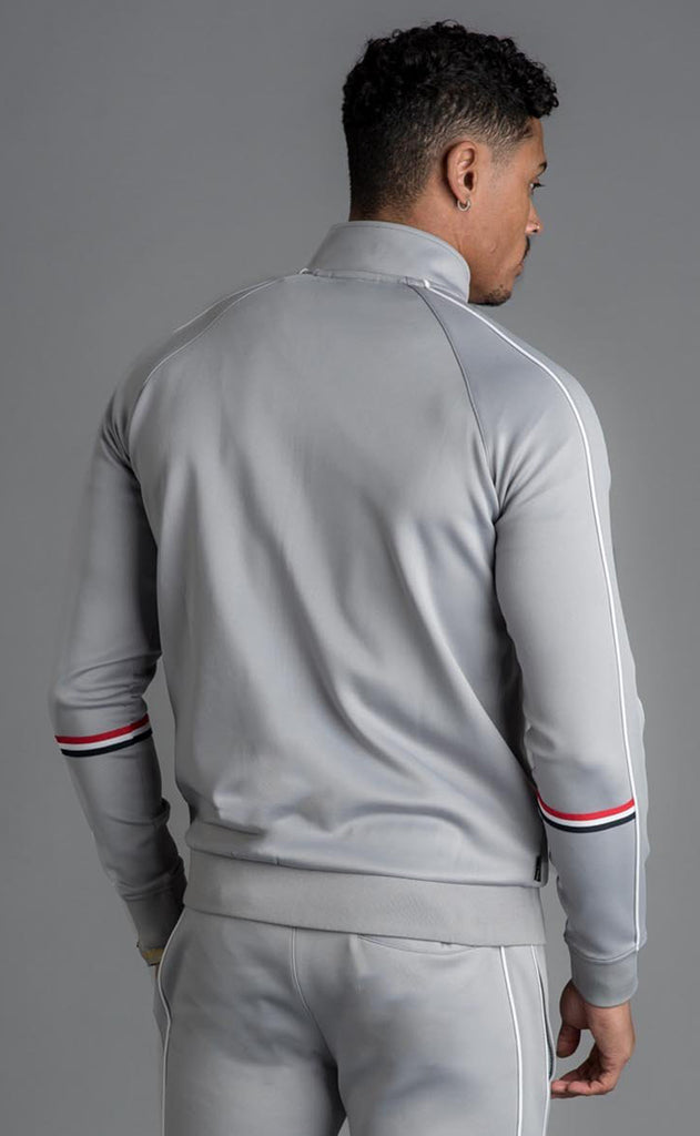 GK DIEGO RETRO TAPED TRACKSUIT TOP - SILVER GREY
