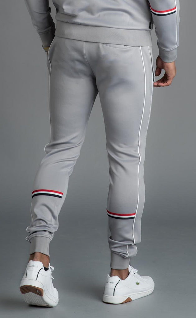 GK DIEGO TAPED POLY TRACKSUIT BOTTOMS - SILVER GREY