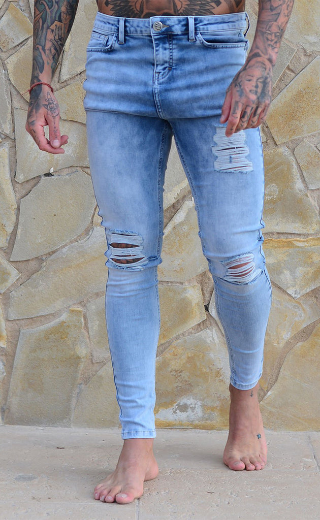 RIPPED & REPAIRED JEANS (LIGHT BLUE)
