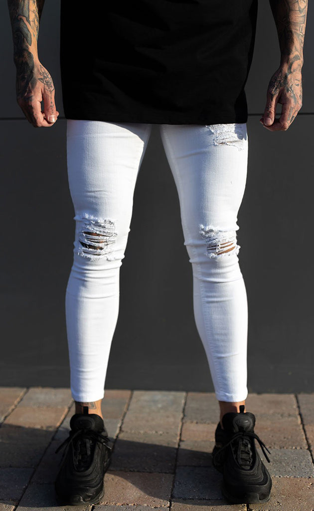 RIPPED & REPAIRED JEANS (WHITE)
