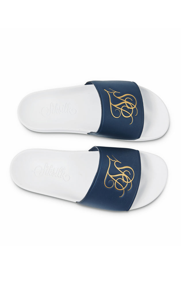 ROMA LUXE SLIDES - NAVY/WHITE