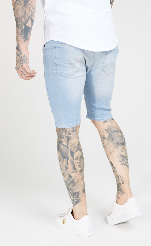 SIKSILK DISTRESSED SKINNY SHORTS - LIGHT BLUE