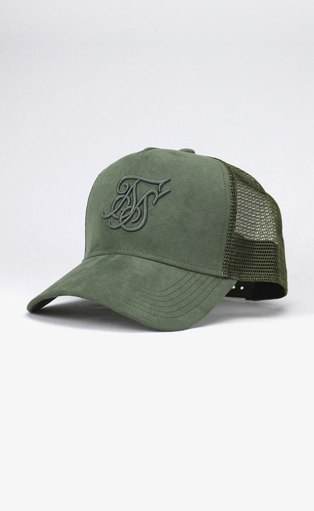 SUEDE BENT PEAK TRUCKER - KHAKI