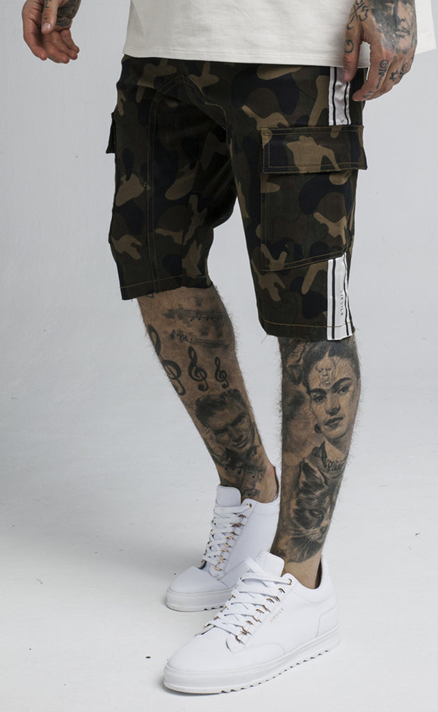 TAPED CARGO SHORTS - CAMO