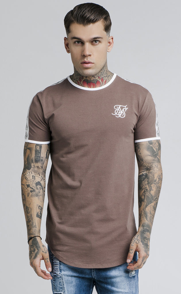 CURVED HEM TAPED GYM TEE - RUST