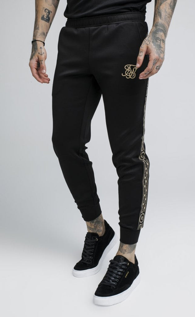 CARTEL CROPPED CUFFED TRACK PANTS - BLACK