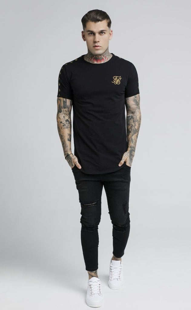 Lurex Gold Tape Tee – Black