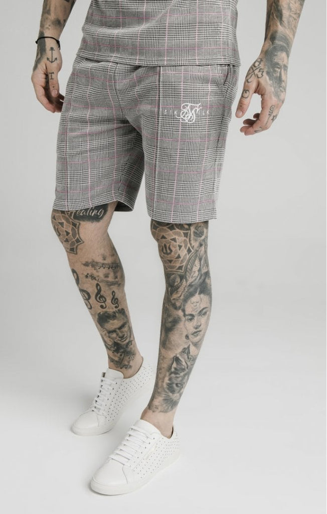 SikSilk Pleated Smart Shorts – Grey & Pink Check