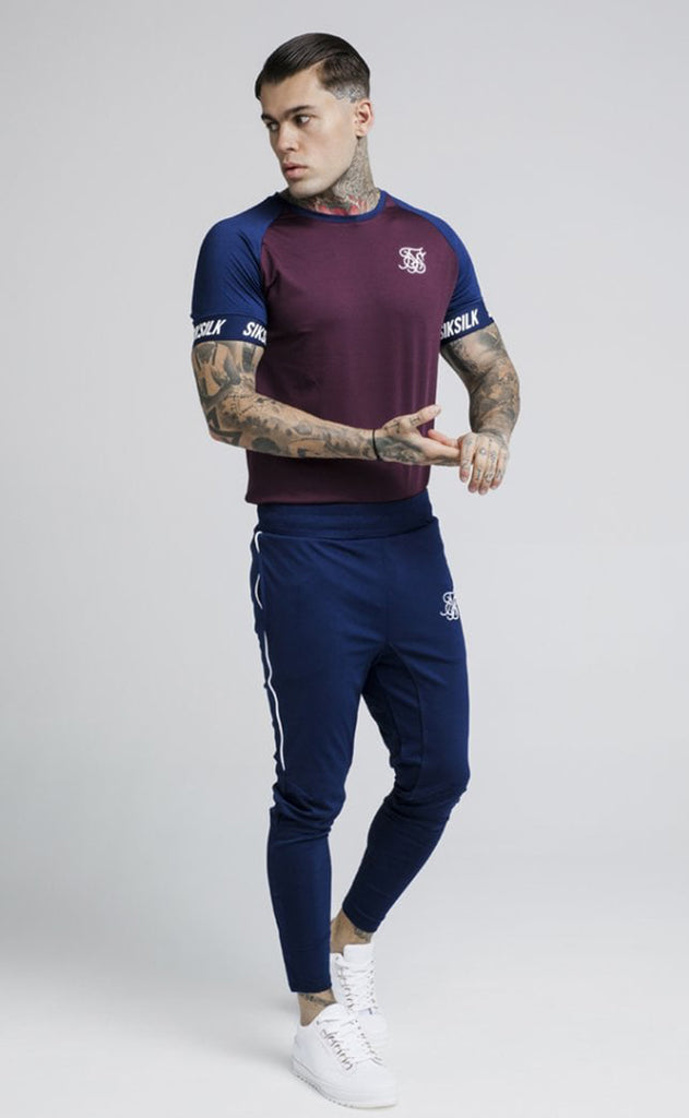 Raglan Tech Tee – Burgundy & Navy