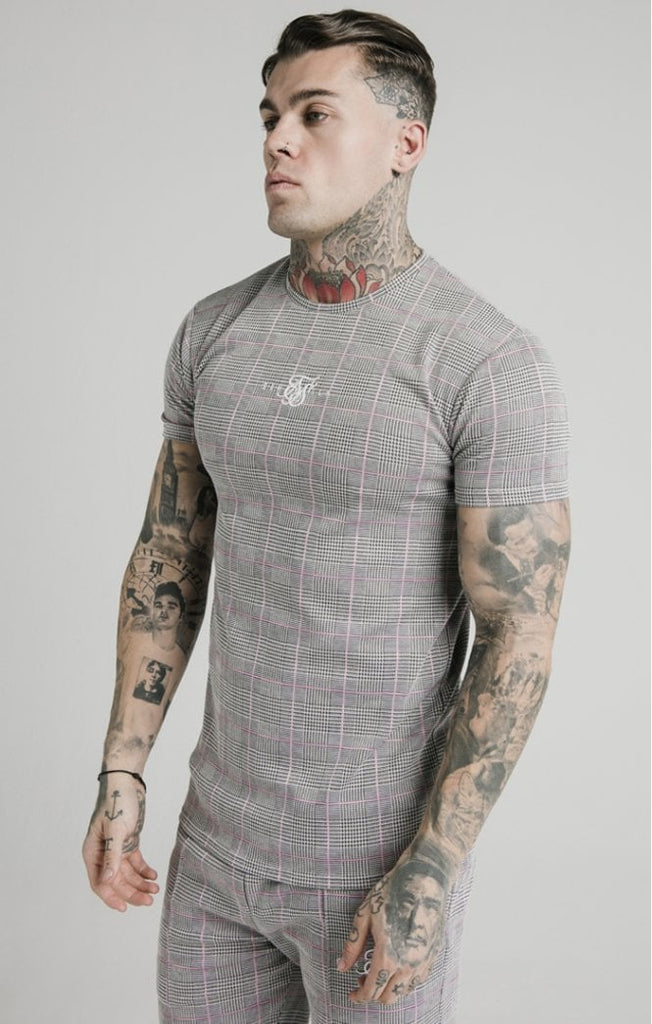 SikSilk S/S Smart Gym Tee – Grey & Pink Check