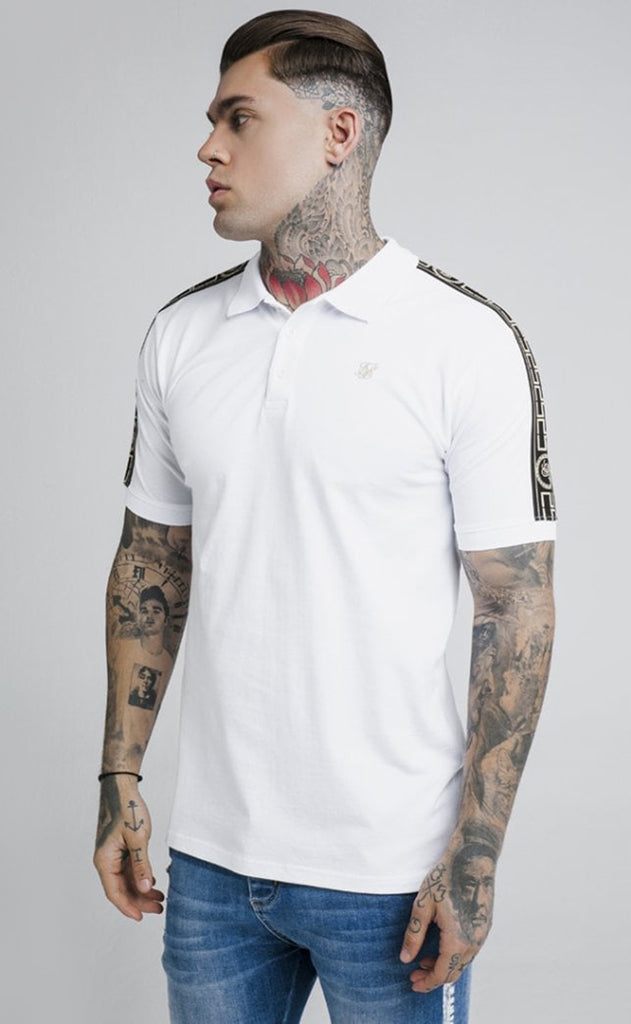 S/S TAPED PIQUE POLO SHIRT - WHITE