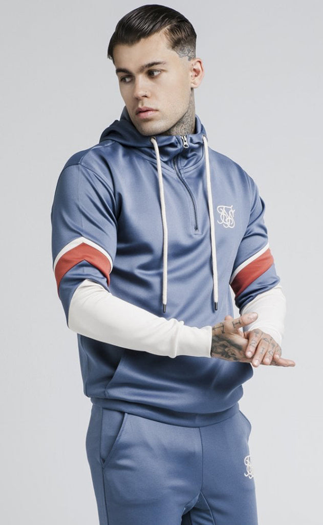 Sprint Quarter Zip Overhead Hoodie - Navy and Beige