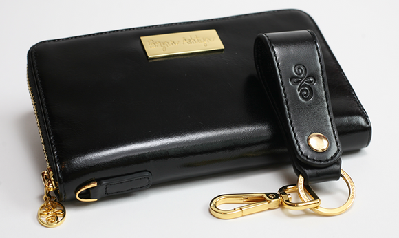 Black Leather Embossed Key Strap