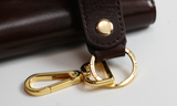 Brown Leather Embossed Key Strap