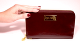 Mahogany Brown Leather Wristlet