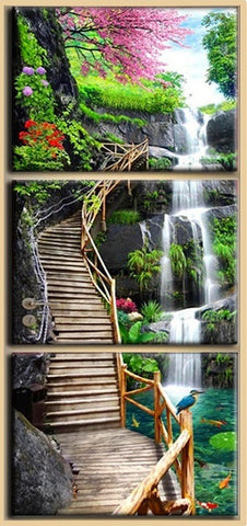 Diamond Embroidery Forest Ladder Waterfalls