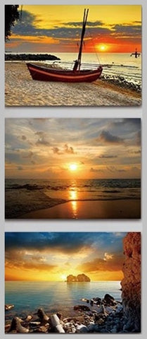 3pcs Sunset Seascape Nature Diamond Embroidery