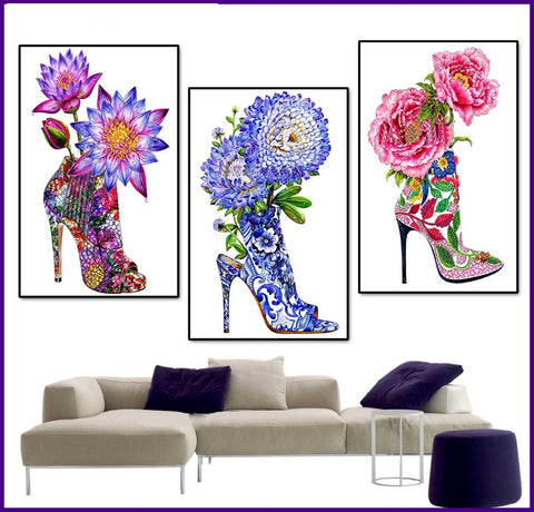 Gorgeous Flower Shoes Diamond Paintings