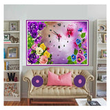 Beautiful Flower Clock Diamond Painting