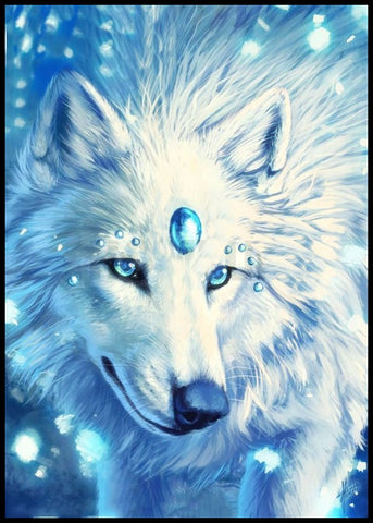 White Wolf At Moonlight Diamond Painting