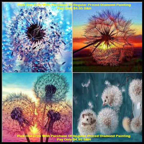 """FREE"" Sunset Dandelion Diamond Paintings"