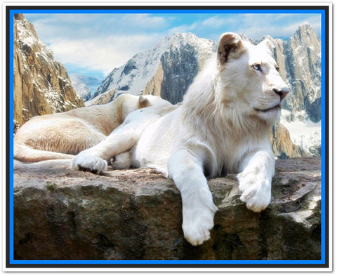 Spectacular White Mountain Loin Diamond Embroidery