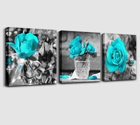 3pcs New 5D Diamond Embroidery Black & White Style Blue Roses
