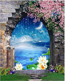 5D Diamond Painting Window, Lotus Flowers