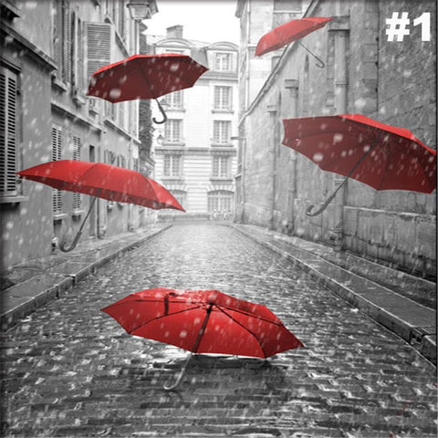 5D Paris Red Umbrella, Diamond Painting