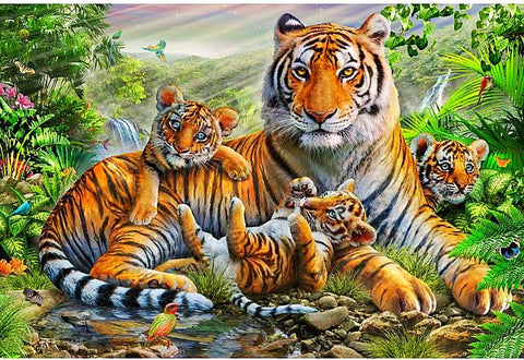 """New"" 5D DIY Diamond Painting Cute Tiger Family"