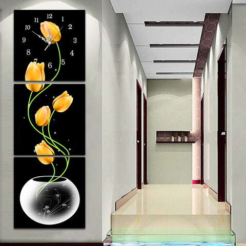 3PC/Set Tulip Diamond Painting Clock