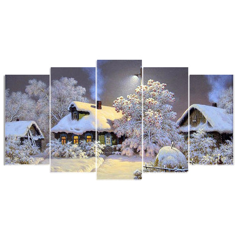 5pcs/Set of 5D DIY Snow Covered Cabins Diamond Painting