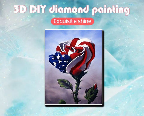 American Flag Rose Diamond Painting