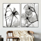 New 2PC Set Of Black Transparent Flowers