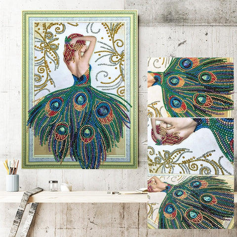 Peacock Girl Special Shaped Diamond Embroidery