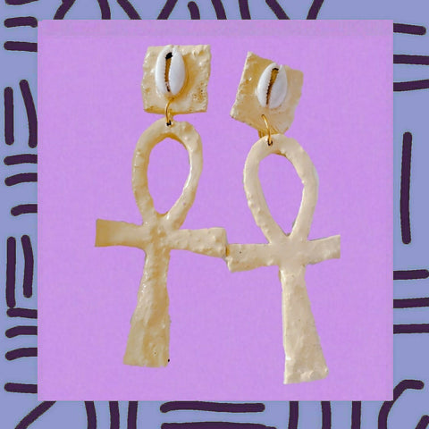 "Ivory Ankh symbol 3"" cowrie shell Earrings"