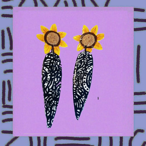 Sunflower hippie earrings