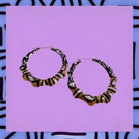 TribeKa•bamboo doorknocker hoop earrings