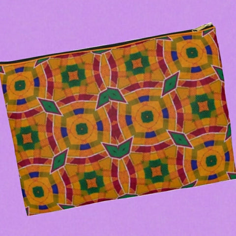 Xl pouch clutch•Remix Kente cloth pattern