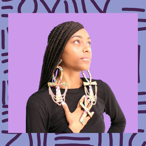Afropunk earrings~Big Ankh earrings set