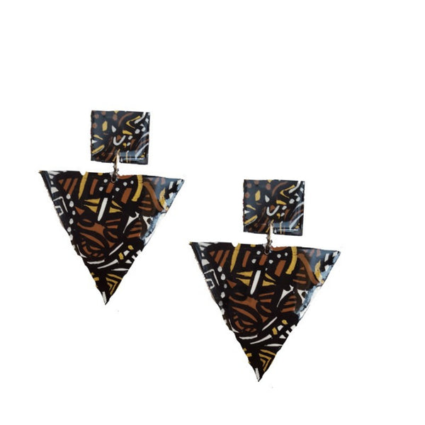 Mudcloth~triangle earrings