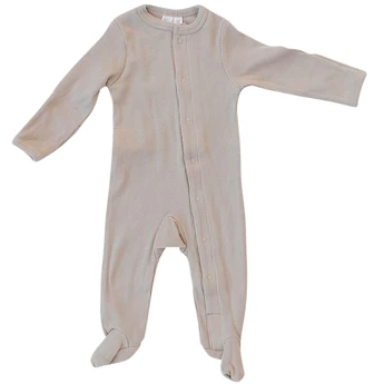 Mebie Baby Organic Cotton Ribbed Footed Snap One-Piece