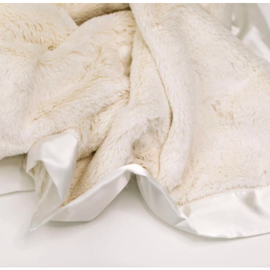 Saranoni Ivory Lush Satin Border Mini Blanket