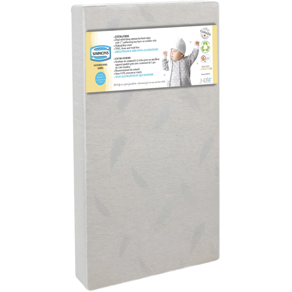 Simmons Sandstone Extra Firm Natural Flax Crib Mattress